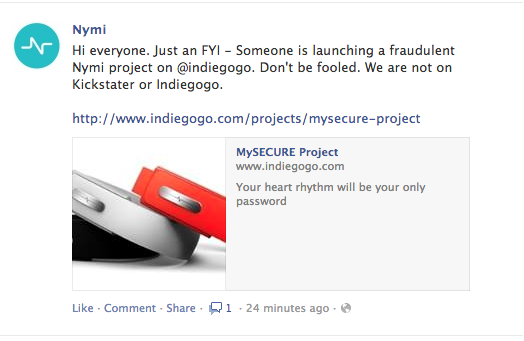 Backers Beware: Bionym Crowdfunding Faker Found on Indiegogo